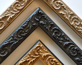8 x 10 - 12 x 16 Ornate Vintage Silver, Gold, and Black Picture Frames, Custom, Readymade, Wall Decor, Home Decor, Art, Photography