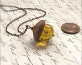 Glass Acorn Necklace - Sunflowers - by Bullseyebeads - Ready To Ship