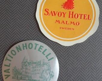 Scandinavian Travel Ephemera Valtion Hotelli Imatra Suomi Finland and Savoy Hotel Malmo Sweden Stickers/Labels