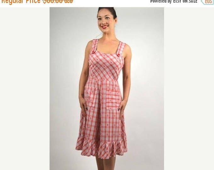 sale Vintage Dress, 50s Dress, Plaid Dress, Sundress, Red Dress, Vintage Women's Clothing, Rockabilly Dress, Pin Up Dress, Summer Dress,