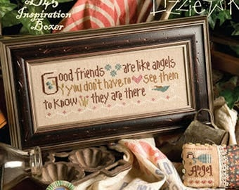 Lizzie Kate Inspiration Boxer B45 - Good Friends Are Like Angels - Counted Cross Stitch Pattern, Fabric and Embellishments