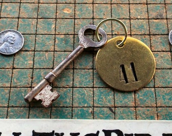vintage Skeleton Key, on ring with brass number 41 tag, hotel key, , rustic, steampunk, pirate, man cave