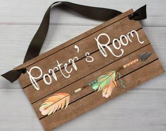 DOOR SIGN Tribal Arrow and Feathers Kids Bedroom Baby Nursery Wall Art Ds0470