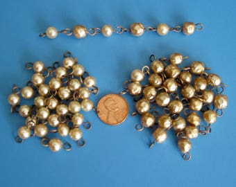 Vintage Loose Glass Pearls, Dimpled and Smooth with Eye Pins on Each End Perfect for Jewelry Project, Distash, supply