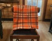 Repurposed Blanket Large Unisex Satchel in Orange & Brown w Kangaroo Leather features
