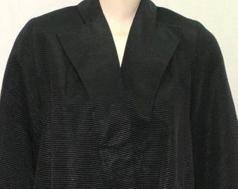 SUMMER SALE Vintage 1950's Mar-Del Modes Size 10 Swing Coat Jacket Grossgrain Black Medium