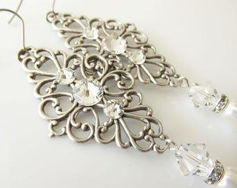 Antique Silver Filigree, Swarovski Pearls and Crystals Bridal Earrings | Romantic Vintage Wedding Accessories | Long Bridal Earrings