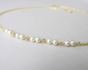 Minimalist Pearl Gold Chain Layering Necklace | Dainty Skinny Necklace | Modern Gold Jewellery | Swarovski Cream Pearls | 24k Gold Plated