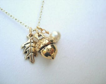 Gold Acorn Necklace Acorn Pendant with Leaf and Pearl Acorn Jewelry Feminine Acorn