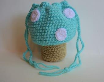 Turquoise Mushroom Toadstool Purse