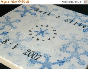 XMASINJULYSale Personalized Snowflake Kitchen Tile Trivet - Christmas Gift - Housewarming