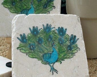 XMASINJULYSale Peacock Coasters - Housewarming Gift - Absorbent Tile Coasters - Office and Kitchen Decor