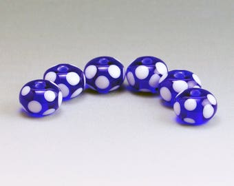 Lampwork Bead Set Handmade Medium Cobalt Blue With White Dots SRA by HallockGlass