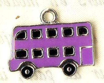 2 x charms BUS enamel purple - silver MAT2315