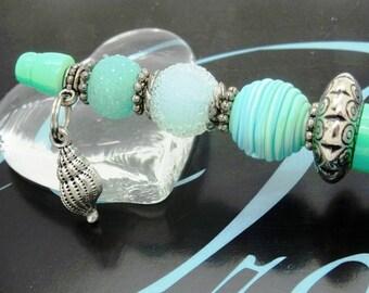 Pen ❁ SEA LIFE AQUA seashell silver Mint fimo STY050 ❁