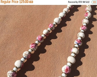 40% OFF The Pink Rose White Porcelain Beaded Necklace
