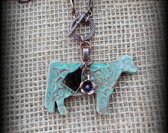 "Dairy Cow, Holstein Livestock Jewelry Kiln Fired Pottery Pendant, Copper Chain  Necklace, Approx 25"" (end to end)"