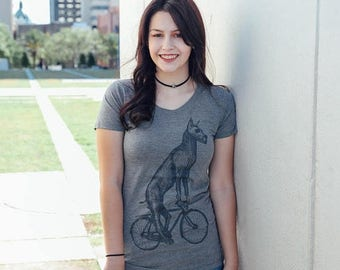 SUMMER SALE Great Dane on a Bicycle- Womens T Shirt, Ladies Tee, Blended Tee, Handmade graphic tee, sizes S-Xxl