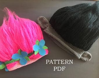 NEW item Princess Poppy and Branch inspired Troll Hat pattern - Knitting PATTERN PDF - includes 5 sizes baby to adult