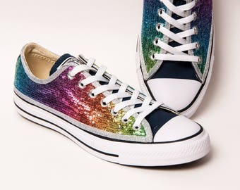 Sequin - Rainbow Over Blue Multi Colors Canvas Converse Low Top Sneakers