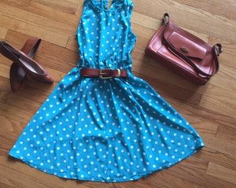 Adorable 80s Polkadot Dress Small