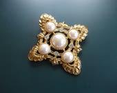 Vintage KJL Kenneth J. Lane Avon Faux Pearl & Clear Glass Rhinestone Brooch Pin And Pendant