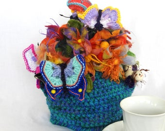 Floral Crochet Tea Cosy with wet felted flowers OOAK Tea Pot Cosy, Aussie Tea Cosy, floral tea cosy