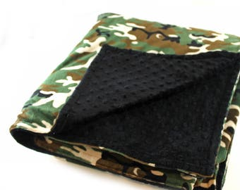 Adult Minky Blanket Black Green Camo Blanket / 60 x 70  Personalized Minky blanket / Personalized Gift / Twin Blanket / Minky Throw Blanket