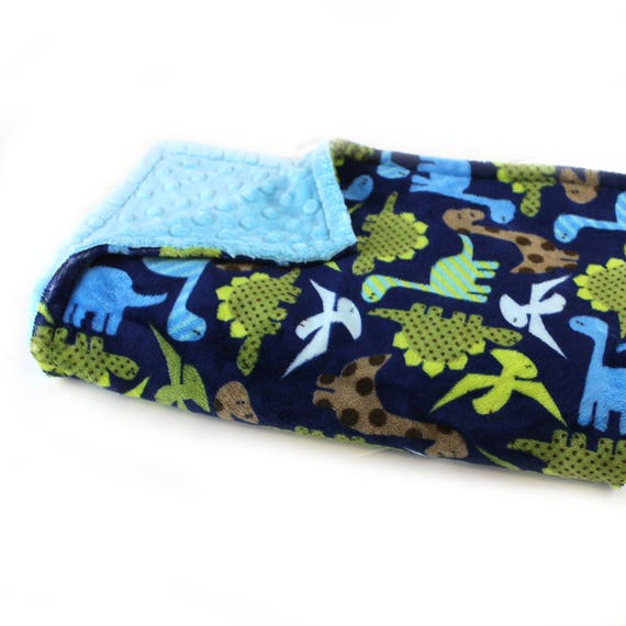 Dinosaur Blanket / Minky Baby Blanket Boy, Green Blue Dinosaur Blanket // 29 x 35 in Ready to Ship
