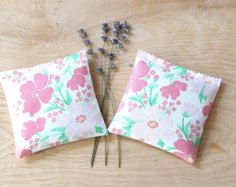 Pink and Green Floral Lavender Sachets, Scented Drawer Sachets for Her, Fragrant Home Decor