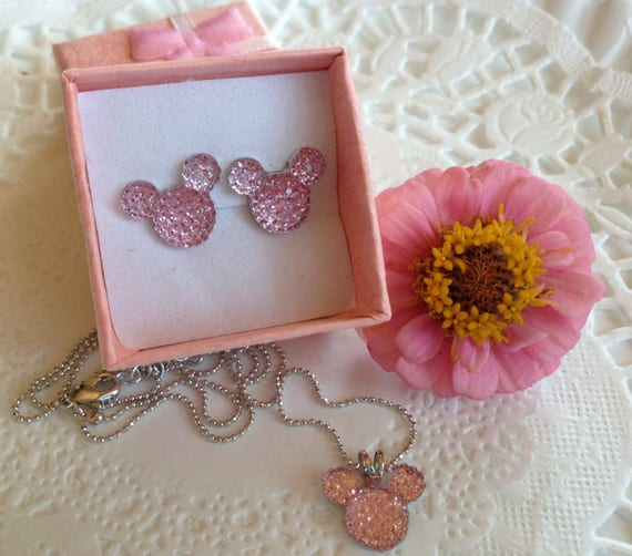 Anniversary Gift-Hidden Mickey MOUSE EARS Necklace and Earrings Set-Themed Wedding Party-Baby Pink Acrylic
