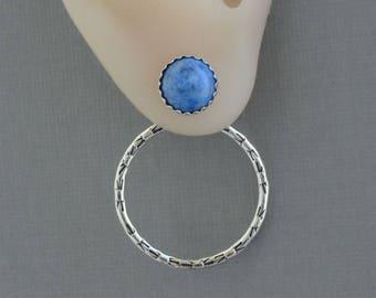 Denim blue lapis lazuli stud earring front back double sided ear jackets two sided earring natural stone jewelry sterling silver hoop jacket