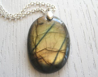 Intense Golden Copper Labradorite Pendant Necklace