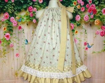 Girls Dress 3T/4T Sand Gold Flower Pillowcase Dress Pillow Case Dress Sundress