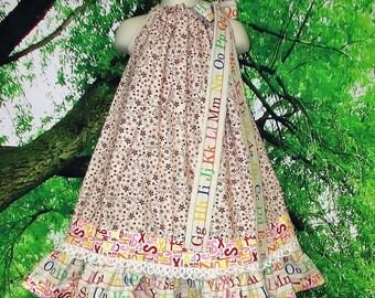 FREE SHIP Girls Dress 5/6  Back to School Cream Flowers abc's Pillowcase Dress, Pillow Case Dress, Sundress