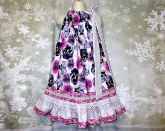 Girls Dress 5/6 Purple Gray Pansies Flower Pillowcase Dress, Pillow Case Dress, Sundress, Boutique Dress