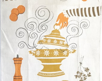 Linen Kitchen Towel Soup Tureen George Wright Midcentury Artist Designer Witches Stew