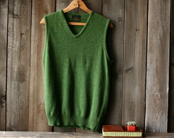 70s Wool Sweater Vest Sears V Neck Unisex Green Layering Vintage From Nowvintage on Etsy