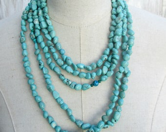 Layered Turquoise Nugget Necklace, Multi Strand Boho necklace, CUSTOM MADE to order