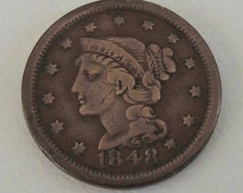 Vintage 1848 Braided Hair Large Penny. Collectable Penny, Rare Penny  -  FREE Shipping