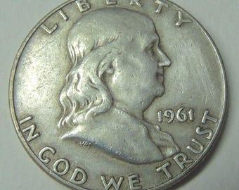 Vintage 1961 D Silver Franklin Half Dollar - Silver Coins - Rare Coins - USA Coins - Free Shipping