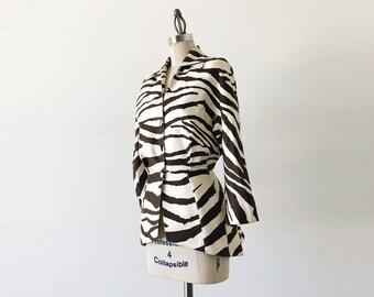 Vintage 1980s Thierry Mugler Ivory Brown Peplum Zebra Blazer - S/M