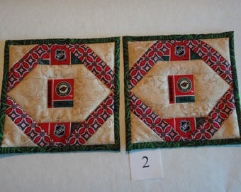 Minnesota Wild quilted pot holders pair #2
