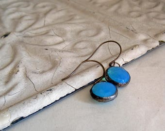 Faceted Glass Earrings Aqua Opal Stained Glass Jewelry