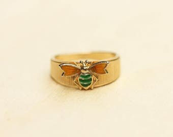 Yellow Bee Ring, Bee Ring, Gold Bee Ring, Vintage Bee Ring, Size 6 Ring