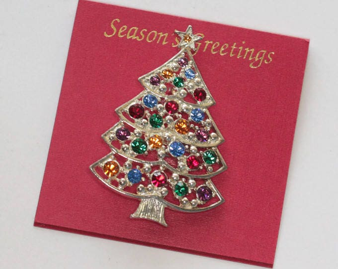 Eisenberg Ice Rhinestone Christmas Tree Pin Multi Color Silver Tone Original Card