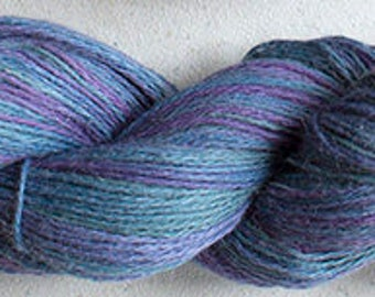 Alpaca Cotton Lace, Hand Painted yarn, 300yds - Sky