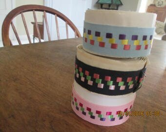 Ribbon, vintage grosgrain with a stylized polka dot motif.  1940's 2-3 yards each