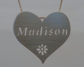 Name or Phrase Heart Pendant- custom made to order