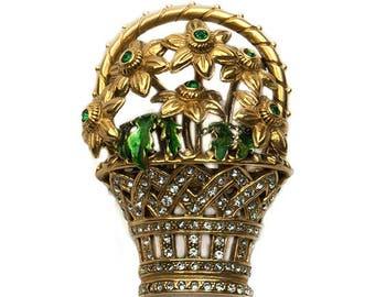 1980s MMA Metropolitan Museum Of Art Gold Plated Green White Rhinestone Enamel Flower Floral Basket Vintage Brooch Pin